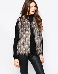 French Connection Danny Faux Fur Gilet Grey Feathered