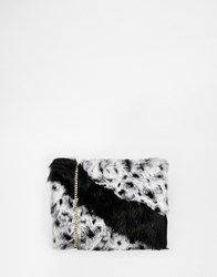 Urbancode Faux Fur Clutch Bag With Optional Shoulder Strap Blkwhtani