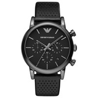 Emporio Armani Ar1737 Men's Chronograph Stainless Steel Black Leather Strap Watch Black