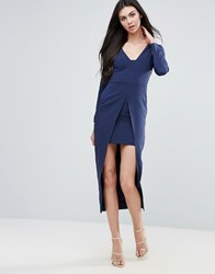 Lavish Alice Pencil Dress With Cape Navy