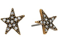 Marc Jacobs Charms Paradise Star Studs Earrings Crystal Antique Gold Earring Clear