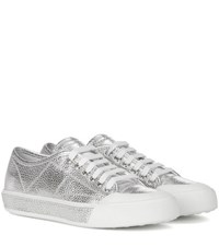 Tod's Leather Sneakers Silver