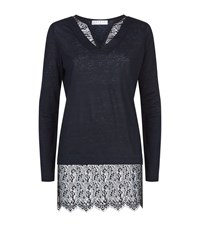 Sandro Tyra Lace Trim Linen Sweater Female Blue