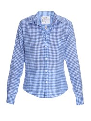 Frank And Eileen Barry Gingham Check Linen Shirt Blue White