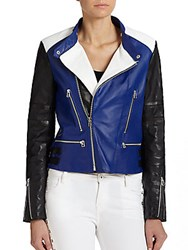 Of Two Minds Colorblock Leather Moto Jacket Blue Black