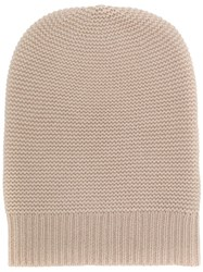 N.Peal Knitted Beanie Hat Nude And Neutrals