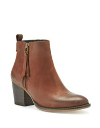 Blondo Vegas Leather Almond Toe Ankle Boots Cognac