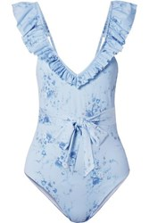 Loveshackfancy Jasper Belted Ruffled Floral Print Swimsuit Light Blue