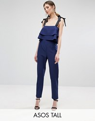 Asos Tall Jumpsuit With Double Ruffle And Contrast Grosgrain Tie Navy