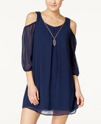 As U Wish Juniors' Cold Shoulder Shift Dress With Necklace Navy Blue