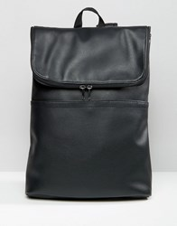 Asos Backpack In Faux Leather With Fold Over Top Black