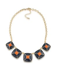 1St And Gorgeous Enamel Pyramid Pendant Statement Necklace In Dark Blue Orange Gold