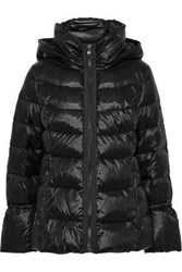 Donna Karan Woman Quilted Coated Shell Down Hooded Coat Black