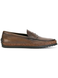 Tod's Braided Trim Loafers Brown