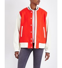 Rag And Bone Edith Leather Wool Varsity Bomber Jacket Red Ivory