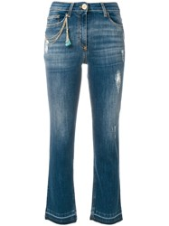 Elisabetta Franchi Cropped High Waisted Jeans Blue