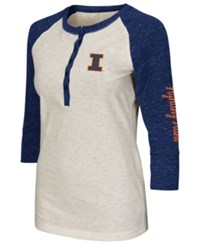 Colosseum Women's Illinois Fighting Illini Chevelle Henley T Shirt Cream