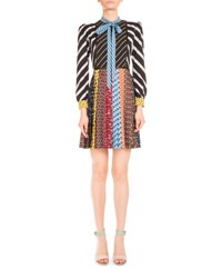 Mary Katrantzou Printed Long Sleeve Tie Neck Shirtdress Multicolor Multi Colored