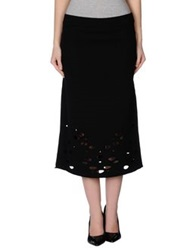 Oblique 3 4 Length Skirts Black