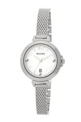 Bulova Women's Diamond Gallery Bracelet Watch 0.015 Ctw Metallic