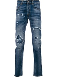 Frankie Morello Distressed Effect Jeans Blue