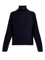 Allude Half Zip Ribbed Cashmere Sweater Dark Navy