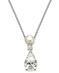 Arabella Bridal Cultured Freshwater Pearl 7Mm And Swarovski Zirconia 7 9 10 Ct. T.W. Pendant Necklace In Sterling Silver White