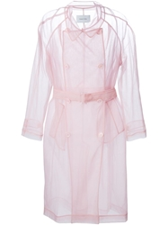 Simone Rocha Transparent Trench Coat Pink And Purple