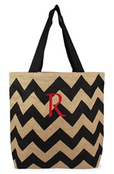 Cathy's Concepts Personalized Chevron Print Jute Tote Grey Black Natural R