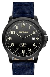 Men's Barbour 'Heritage' Fabric Strap Watch 44Mm Navy Black