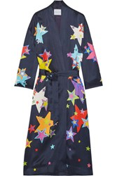 Mira Mikati Printed Satin Coat Navy
