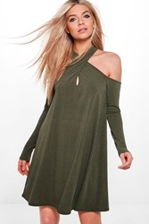 Boohoo Twist Halter Neck Soft Rib Swing Dress Khaki