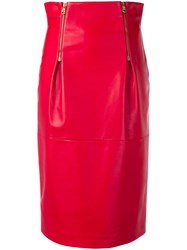 Versace High Rise Pencil Skirt Red