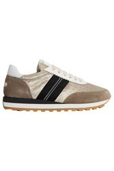 Brunello Cucinelli Woman Velvet And Suede Sneakers Taupe