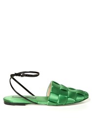 Marco De Vincenzo Woven Satin Flat Sandals Green