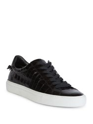 Givenchy Urban Street Line Knot Croc Embossed Patent Leather Sneakers Black