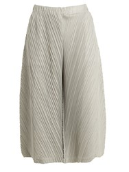 Issey Miyake Wide Leg Pleated Culottes Light Grey