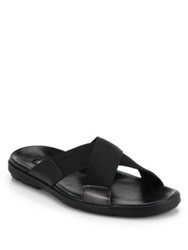 Prada Nylon Cross Strap Sandals Black