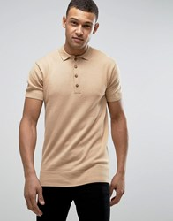 D Struct Basic Knitted Polo Tan