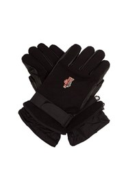 Moncler Grenoble Twill And Leather Technical Ski Gloves Black