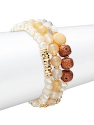 Design Lab Lord And Taylor Three Row Bead Bracelet Brown