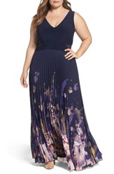 Xscape Evenings Plus Size Women's Floral Border A Line Chiffon Gown