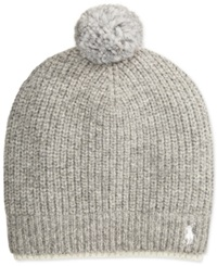 Polo Ralph Lauren Two Tone Ribbed Beanie With Pom Pom Fawn Grey