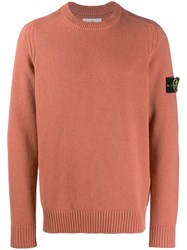Stone Island Logo Patch Knitted Sweater Pink