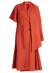 Christophe Lemaire Scarf Neck Cotton Poplin Dress Red