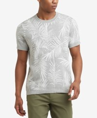 Kenneth Cole Reaction Men's Palm Jacquard T Shirt Heather Grey