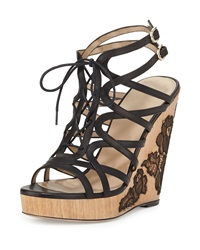 Valentino Wooden Lace Wedge Sandal Black