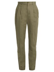 A.P.C. Lena Slim Leg Cotton Blend Gabardine Trousers Khaki