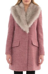 Belle Badgley Mischka Women's 'Holly' Faux Fur Collar Boucle Coat Withered Rose