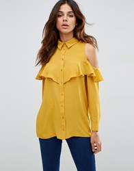 Asos Cold Shoulder Blouse With Ruffle Mustard Yellow